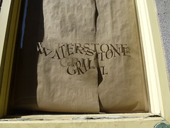 Waterstone Grill (TheMachineStops) Tags: shadow distortion window ventana guesswherenyc fidi frankensteinguessed