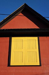 Yellow hatch (Jean Knowles) Tags: hatch roof gable wire ledge yellow terracotta black sky blue winter march bold geometric striking yellowbellybrewery georgestreet stjohns newfoundland newfoundlandandlabrador geotag arr allrightsreserved wwwjeanknowlesphographycom 2012jeanknowles nottobeusedwithoutmypermission