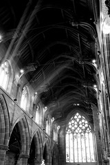 St Martin's Church B&W [Explored] (jonhuskisson) Tags: church birmingham stainedglass explore sunrays bullring stmartinschurch explored