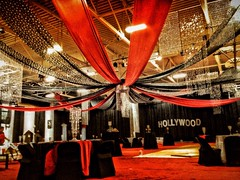 Hollywood Twelve Point Ceiling Treatment (Celadon Events) Tags: fabric hollywood theme decor swag accent props ratpack rentals ceilingtreatment
