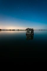 Orion Standing Watch (jon_beard) Tags: sky beach water night dark stars clear orion chesapeakebay kiptopeke