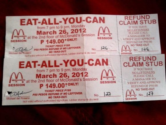 McDonald's Baguio eat all you can buffet tickets 2012