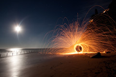space oddity (mark silva) Tags: lightpainting night sydney australia newportbeach fullmoon torch nsw paintingwithlight woolspin
