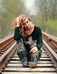 (BradleySupreme) Tags: trees portrait girl woods forrest boots traintracks camo