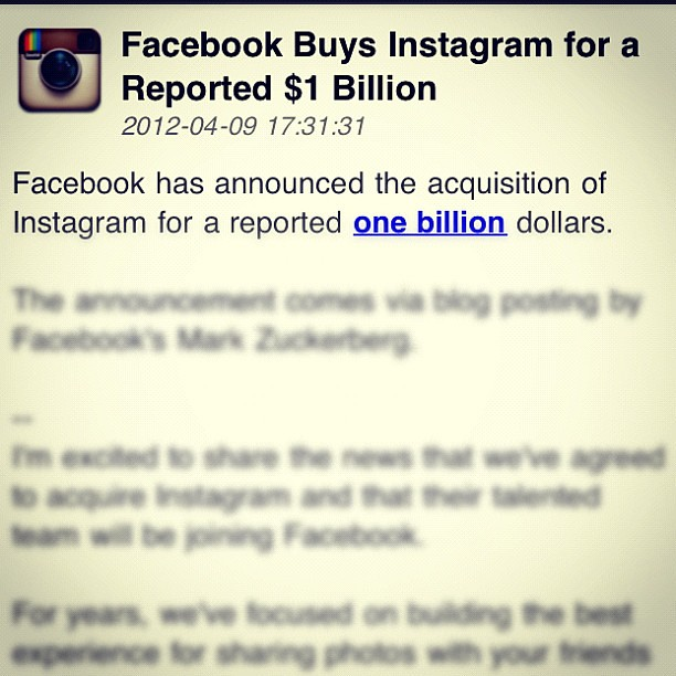 Yowser.. #Facebook buys #Instagram for US$1bn !! #hotStuff #fb #ig #social