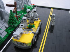 Can We Get a Lift? (Outer Rim Emperor) Tags: road mountains car yellow forest lego hiking alien ufo scifi hitchhiking minifigures crashland series6