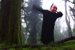 The Chinese girl dances in the foggy forest/Mount Davidson (LOLO Italiana) Tags: sanfrancisco ca trees selfportrait nature mountdavidson foggyforest chinesegirlhead loloitaliana loridambrosio figurestandinginbetweentwotrees