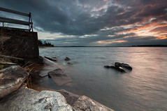 Tyns - sunset (- David Olsson -) Tags: sunset lake nature water clouds fence landscape evening pier nikon rocks sundown cloudy sweden stones tripod sigma filter april 1020mm grad 1020 hitech tye vnern 2012 dx hammar vrmland lakescape gnd d5000 davidolsson tyns 2exposuremanualblend 12soft