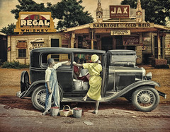 Berries And BBQ .... (Rat Rod Studios) Tags: beer 1936 berries market bbq diners