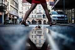 skirtish (ewitsoe) Tags: street urban streets reflection cars car architecture lady 35mm buildings reflecting shoes cityscape crossing sandals leg tracks poland polska environment miniskirt youngwoman longlegs shortskirt poznan 355 womna nikond80 ewitsoe