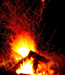 In the line of fire (Ilana Uys) Tags: africa light red black hot art lines yellow night fire warm long exposure paint background south flames logs burn bonfire frame passion braai shutterspeed bushveld mabalingwe