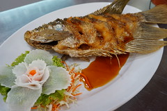 ปลาแรดทอดน้ำปลา อาหารแนะนำร้านทะเลทิพ คลอง4