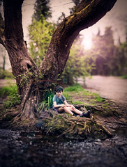 by the river cole (arrowlili) Tags: boy panorama sun tree water photoshop canon river bokeh lotr processing flare shire stitched jrrtolkien rivercole f12 alienskin canon85mm12 shirecountrypark