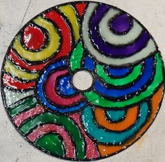 SAM_1987-a (~Mischa) Tags: design colorful paint circles patterns stainedglass suncatcher hanging projects windchimes cdart puffypaint glassstain plasticspheres liquidleading