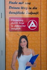Streetart (sterreich_ungern) Tags: woman streetart deutschland devil horn arbeitsamt arge teufel hrner adbashing