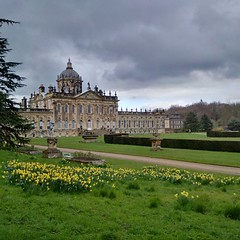 A Yorkshire spring day (gowersaint) Tags: england house cold home monument grass television gardens architecture wonder spring power britain path yorkshire famous historic movies series georgian statelyhome daffodils springtime lawns noble stately castlehoward aristocracy brideshead refinement
