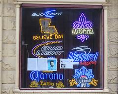 French Quarter - Vieux Carr (Flagman00) Tags: light bar neworleans saints frenchquarter bud fleurdelis abita thequarter vieuxcarr lanouvelleorlans
