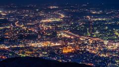 Mount Sarakura (mikemikecat) Tags: blue building japan night twilight nightscape 5 sony mount observatory lighttrails expressway     rte kitakyusyu sarakura    a7r   sarakurayama   sel70200g sonya7r mikemikecat jct