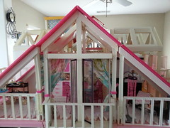 Barbie Dream House Mansion Rooftop Sunroom (moonpiedumplin) Tags: barbie dream house mansion gloria doll remake repaint custom deluxe mattel furniture vintage terrace balcony redo 16 scale diorama yellow frame cottage ooak 80s patio daybed fashion pastries cake dining nook pretty food bar relax deck observation collection buffet hutch floor tile white pink brown chair ottoman sunroom artist room