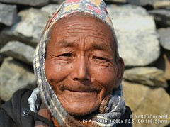 2016-05a Circling the Annapurnas (58) (Matt Hahnewald) Tags: bokeh depthoffield syang mustangdistrict dhakatopi nepalihat matthahnewaldphotography facingtheworld photo image closeup streetportrait headshot outdoor worldcultures cultural oneperson character people male adult ethnic horizontalformat human face eyes eyecontact photography consent empathy rapport portrait portraiture environmentalportrait ethnicportrait travelportrait traveldestination colour 43aspectratio posing asia southasia nepal himalayas annapurnacircuit nikond3100 nikkorafs50mmf18g trekking enface frontview oldthakaliman wrinkles incredible smiling grinning villager annapurnahimal