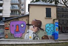 Mat Elbe    Tarek     Bad (HBA_JIJO) Tags: street urban streetart paris france art wall painting skull graffiti crane bad scout spray peinture mur urbain tarek festiwall hbajijo matelbe