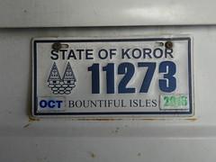 License plate, Palau.