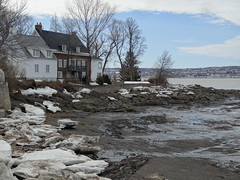 Island of Orleans in the Saint Lawrence River. Quebec city  in teh background. (denisbin) Tags: houses snow waterfall quebec gondolier saintlawrence bridhe iledorleans islandoforleans