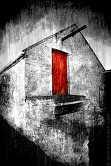 Paint It Black (sbox) Tags: door ireland red color colour monochrome barn buildings textures doorway donegal selective malin selectivecolor inishowen