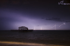 Triple CG (Gavmonster) Tags: uk longexposure sky storm rain weather clouds landscape sussex pier cg nikon brighton unitedkingdom ruin shell wideangle westpier thunderstorm lightning derelict triple thunder stormchasing stormchaser cloudtoground ukstorm 1024mm d7000 nikond7000 gswphotography