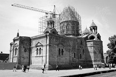 Mother See of Holy Echmiadzin - Armenia (Agnieszka Eile) Tags: caucasus southcaucasus armenia echmiadzin cathedral church orthodox architecture religion christianity unesco blackandwhite bw monochrome