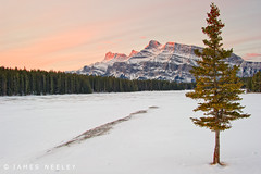 Two Jack Sunrise (James Neeley) Tags: winter canada sunrise landscape banff mountrundle alpenglow banffnationalpark twojacklake jamesneeley
