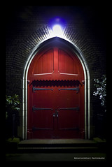 The Red Door (Bryan Koorstad) Tags: seattle door old city light red plants usa cinema black building brick art church night dark photography eos rebel 50mm lights photo washington bright steps picture bryan fantasy mysterious wa cinematic magical shrubs 2012 2010 2011 550d t2i koorstad