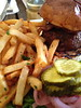The DuMont Burger - Fries or Salad, Boston Bibb, tomato & pickles