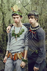 Jarek & Ash (Laurence IV) Tags: nature boys leaves forest portraits necklace belt brothers branches ivy guys bracelet ash crown jarek