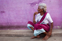 Purple. Mamallapuram (Marji Lang) Tags: old travel pink portrait people woman india feet colors beautiful composition pose hands colorful colours purple angle candid indian violet style age feeling colourful sari indien tamil tamilnadu inde mahabalipuram mamallapuram tamoul travelphotography indienne ef247028l indiansubcontinent lostinthoughts  canoneos5dmarkii bhrat  marjilang