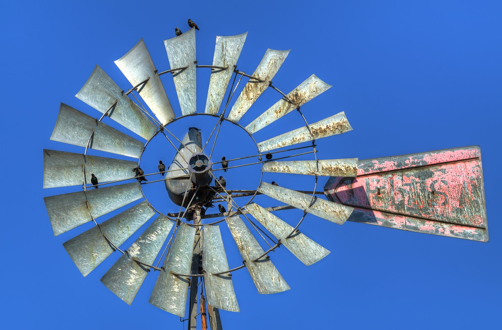 Closeup of an old windmill