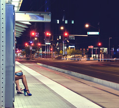 midnight platform (flyinslugs) Tags: street girls urban phoenix train photography nikon women downtown legs tracks womens stop midnight vanburen lightrail nikkor paltform d80