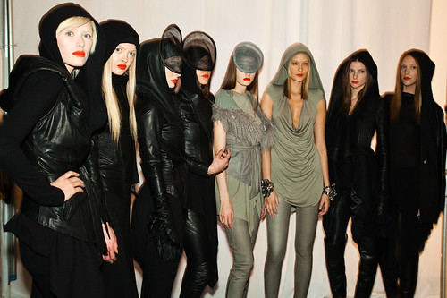 Skingraft girl models backstage after show