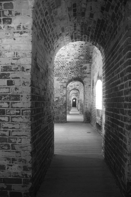 NC - Fort Macon - Squatty Arches in Black and White