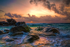 Aruba Sunrise (rseidel3) Tags: ocean water clouds sunrise rocks aruba hdr photomatix