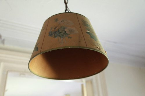 Vintage floral lamp shade in 2nd story hallway