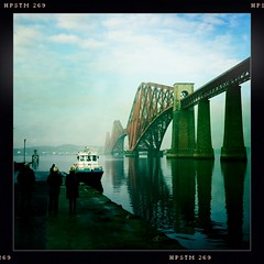 Sunday in Queensferry (angus clyne) Tags: new old trip travel bridge winter red sea people mist cold reflection green water smart river scotland pier boat spring paint tour phone time angus weekend jetty south tide sunday north group scottish wave rail railway calm forth photograph sail tug slime hull girder firth tuition queensferry iphone clyne haar noth johnslens hipstamatic pistilfilm