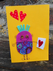 Valentine's card (Textile-tally) Tags: handmade valentinescard