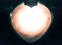 Her Heart, as a Gift, Like the Moon (lyunardo) Tags: moon hands glow heart valentine backlit leonardoharrellphotography