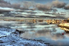 Blue winter [Daily Project] (DavGoss) Tags: ocean blue houses winter red sea white house snow seascape norway photoshop canon landscape eos boat wharf hdr nordland photomatix 550d cs5 ti2 sleneset davgoss