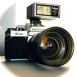 Pentax film camera with Soligar flash (Explore)