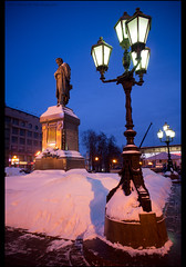 Moscow. Monument to Alexander Pushkin. (Yuri Degtyarev) Tags: city morning light monument night square moscow sony tripod yuri alexander alpha sel  pushkin slik  nex  1628    degtyarev  sel16f28  nexc3