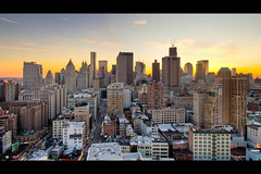 Downtown Manhattan at Sunset (RBudhu) Tags: newyorkcity jerseycity gehry financialdistrict tribeca gothamist curbed municipalbuilding 70pine