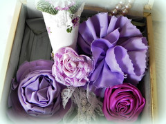 purples and lavender beauties (AllThingsPretty...) Tags: ribbonflowers ribbonroses fabricroses