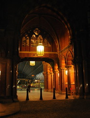 St Pancras Station London 23rd February 2012 (loose_grip_99) Tags: uk railroad roof england london station architecture night lights eurostar gothic victorian rail railway nighttime stpancras midland trainshed britishrailways clickcamera